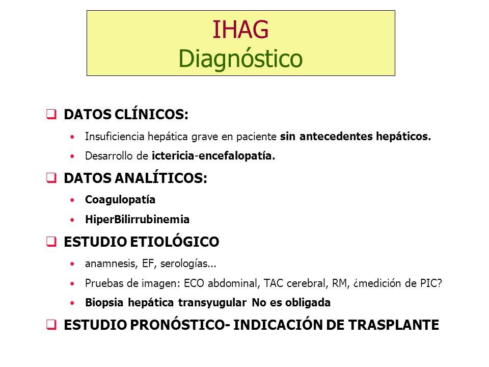DATOS CLÍNICOS: Insuficiencia hepática grave en paciente sin antecedentes hepáticos. Desarrollo de ictericia-encefalopatía. DATOS ANALÍTICOS: Coagulop