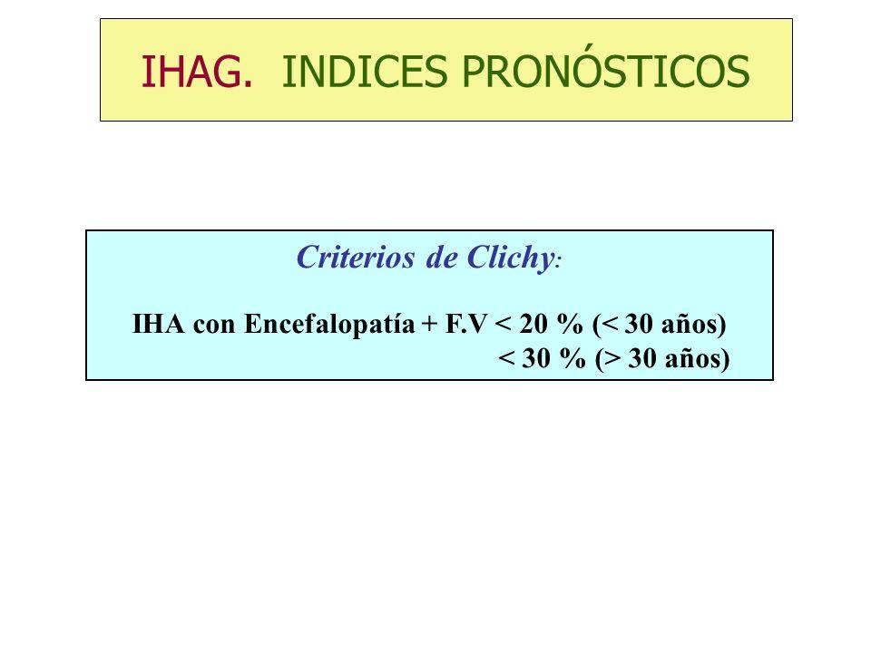 Criterios de Clichy : IHA con Encefalopatía + F.V < 20 % (< 30 años) 30 años) IHAG. INDICES PRONÓSTICOS