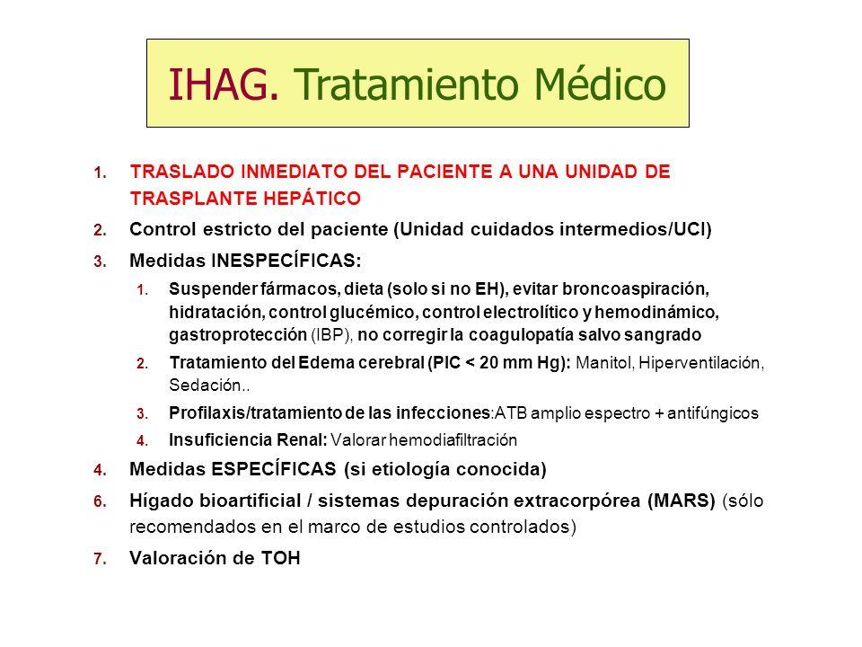 1. TRASLADO INMEDIATO DEL PACIENTE A UNA UNIDAD DE TRASPLANTE HEPÁTICO 2. Control estricto del paciente (Unidad cuidados intermedios/UCI) 3. Medidas I
