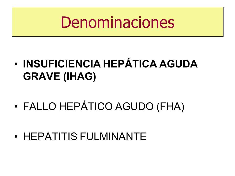 Denominaciones INSUFICIENCIA HEPÁTICA AGUDA GRAVE (IHAG) FALLO HEPÁTICO AGUDO (FHA) HEPATITIS FULMINANTE