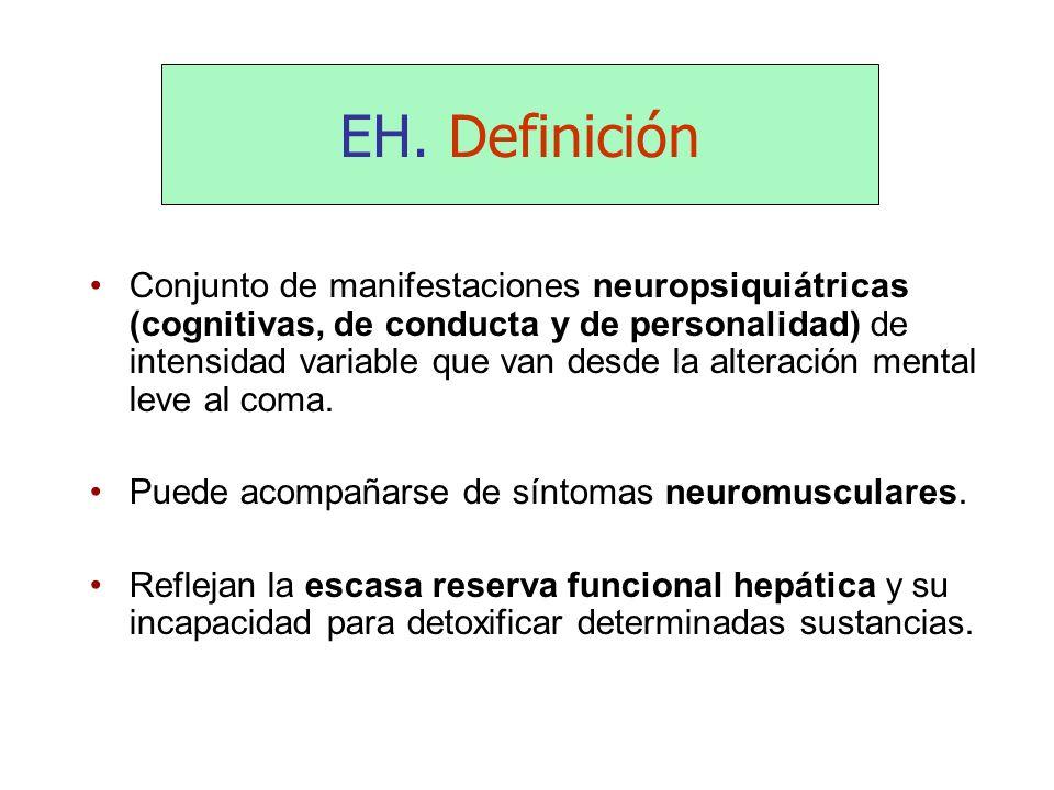 EH. Definición Conjunto de manifestaciones neuropsiquiátricas (cognitivas, de conducta y de personalidad) de intensidad variable que van desde la alte