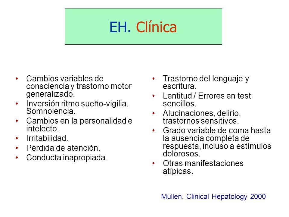 EH. Clínica Cambios variables de consciencia y trastorno motor generalizado. Inversión ritmo sueño-vigilia. Somnolencia. Cambios en la personalidad e