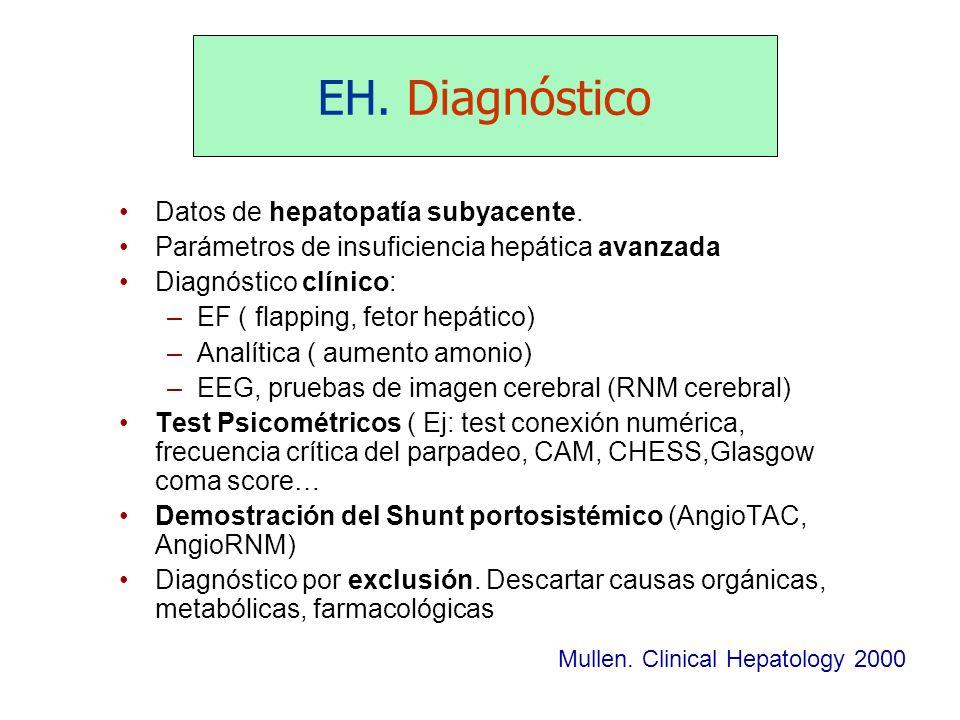 EH. Diagnóstico Mullen. Clinical Hepatology 2000 Datos de hepatopatía subyacente. Parámetros de insuficiencia hepática avanzada Diagnóstico clínico: –
