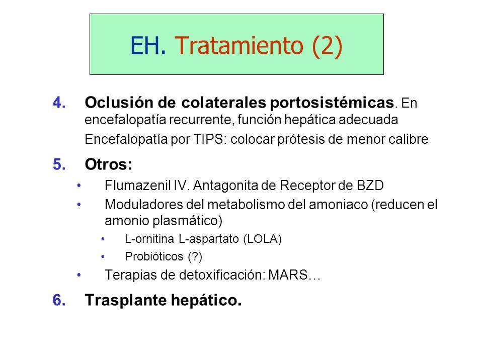 EH. Tratamiento (2) 4.Oclusión de colaterales portosistémicas. En encefalopatía recurrente, función hepática adecuada Encefalopatía por TIPS: colocar
