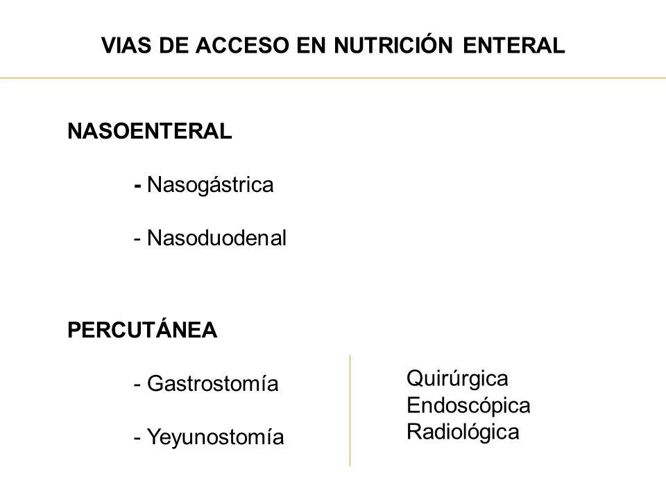 VIAS DE ACCESO EN NUTRICIÓN ENTERAL NASOENTERAL - Nasogástrica - Nasoduodenal PERCUTÁNEA - Gastrostomía - Yeyunostomía Quirúrgica Endoscópica Radiológ