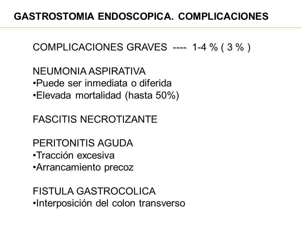 GASTROSTOMIA ENDOSCOPICA. COMPLICACIONES COMPLICACIONES GRAVES ---- 1-4 % ( 3 % ) NEUMONIA ASPIRATIVA Puede ser inmediata o diferida Elevada mortalida