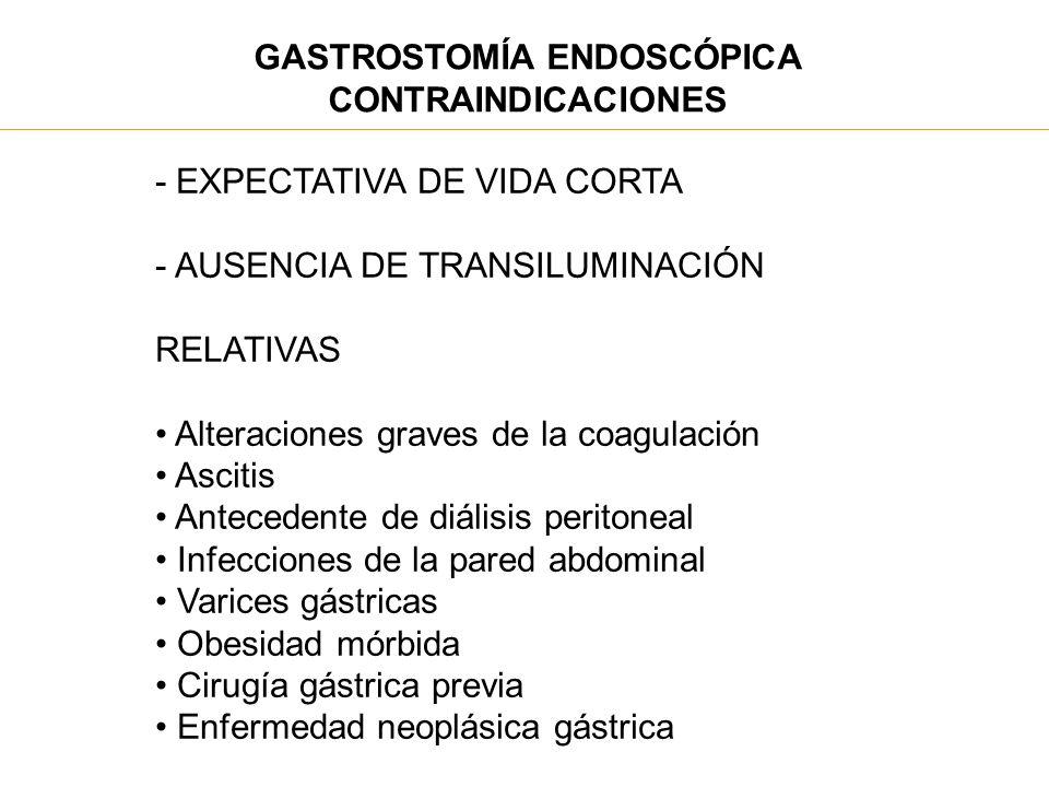 GASTROSTOMÍA ENDOSCÓPICA CONTRAINDICACIONES - EXPECTATIVA DE VIDA CORTA - AUSENCIA DE TRANSILUMINACIÓN RELATIVAS Alteraciones graves de la coagulación