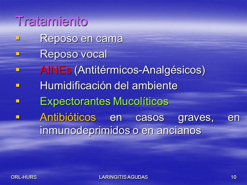 ORL-HURSLARINGITIS AGUDAS10 Tratamiento Reposo en cama Reposo en cama Reposo vocal Reposo vocal AINEs (Antitérmicos-Analgésicos) AINEs (Antitérmicos-Analgésicos) Humidificación del ambiente Humidificación del ambiente Expectorantes Mucolíticos Expectorantes Mucolíticos Antibióticos en casos graves, en inmunodeprimidos o en ancianos Antibióticos en casos graves, en inmunodeprimidos o en ancianos