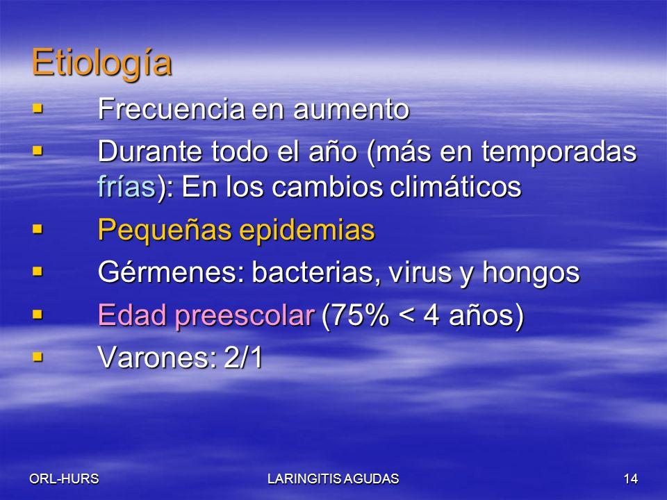 ORL-HURSLARINGITIS AGUDAS14 Etiología Frecuencia en aumento Frecuencia en aumento Durante todo el año (más en temporadas frías): En los cambios climáticos Durante todo el año (más en temporadas frías): En los cambios climáticos Pequeñas epidemias Pequeñas epidemias Gérmenes: bacterias, virus y hongos Gérmenes: bacterias, virus y hongos Edad preescolar (75% < 4 años) Edad preescolar (75% < 4 años) Varones: 2/1 Varones: 2/1