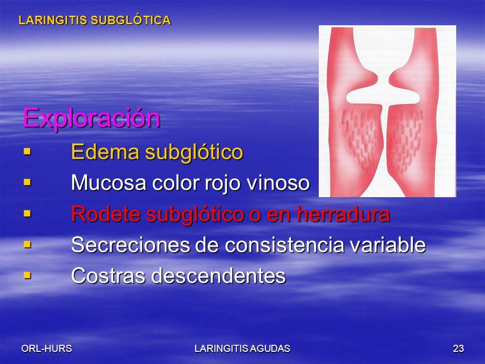 ORL-HURSLARINGITIS AGUDAS23 Exploración Edema subglótico Edema subglótico Mucosa color rojo vinoso Mucosa color rojo vinoso Rodete subglótico o en herradura Rodete subglótico o en herradura Secreciones de consistencia variable Secreciones de consistencia variable Costras descendentes Costras descendentes LARINGITIS SUBGLÓTICA