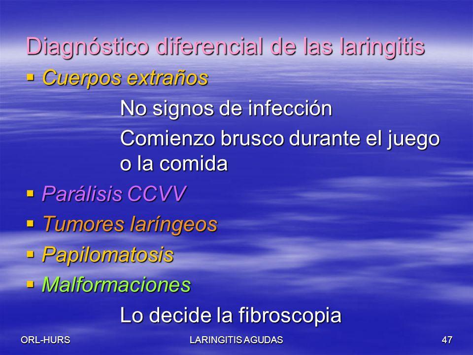 ORL-HURSLARINGITIS AGUDAS47 Diagnóstico diferencial de las laringitis Cuerpos extraños Cuerpos extraños No signos de infección Comienzo brusco durante el juego o la comida Parálisis CCVV Parálisis CCVV Tumores laríngeos Tumores laríngeos Papilomatosis Papilomatosis Malformaciones Malformaciones Lo decide la fibroscopia