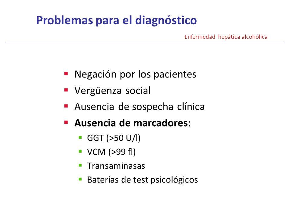 Negación por los pacientes Vergüenza social Ausencia de sospecha clínica Ausencia de marcadores: GGT (>50 U/l) VCM (>99 fl) Transaminasas Baterías de
