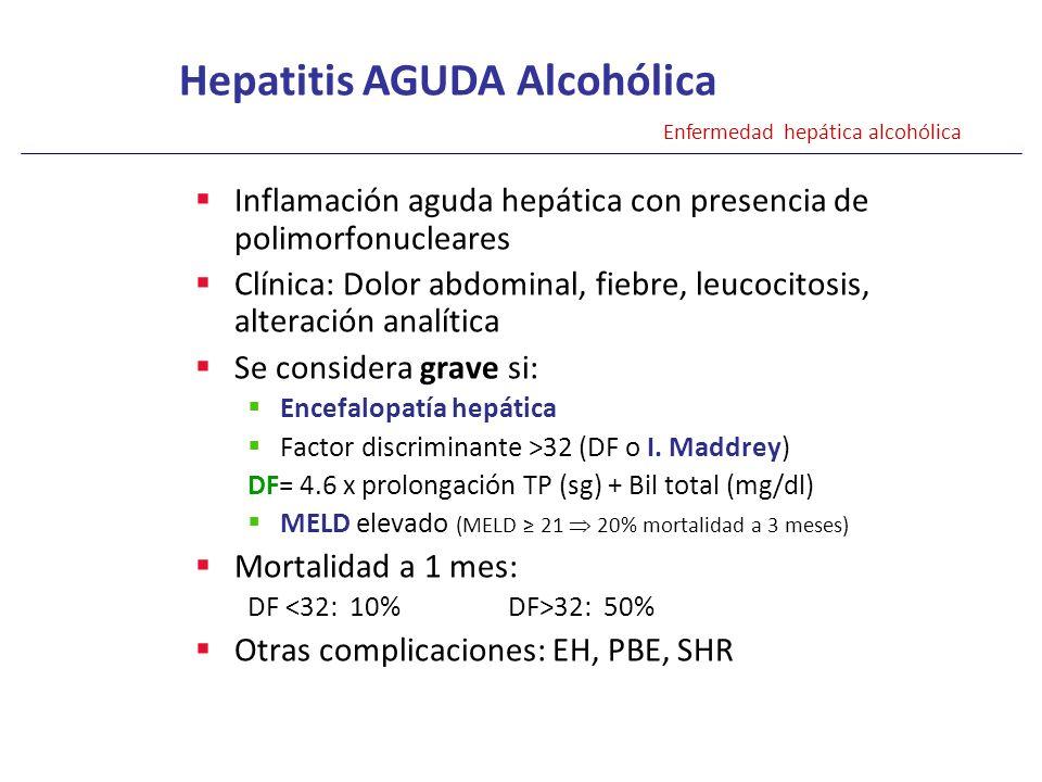 Inflamación aguda hepática con presencia de polimorfonucleares Clínica: Dolor abdominal, fiebre, leucocitosis, alteración analítica Se considera grave