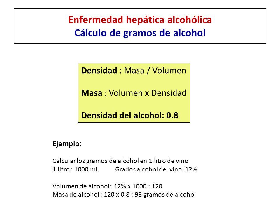 Enfermedad hepática alcohólica Generalidades Bebida% AlcoholAlcohol (gr./litro) Dosis diaria límite para la enfermedad alcohólica HombresMujeres Cerveza5 %403-6 latas1.5-3 latas Vino12 %1004-8 vasos2-4 vasos Licores40 %3203-6 vasos1.5-3 vasos