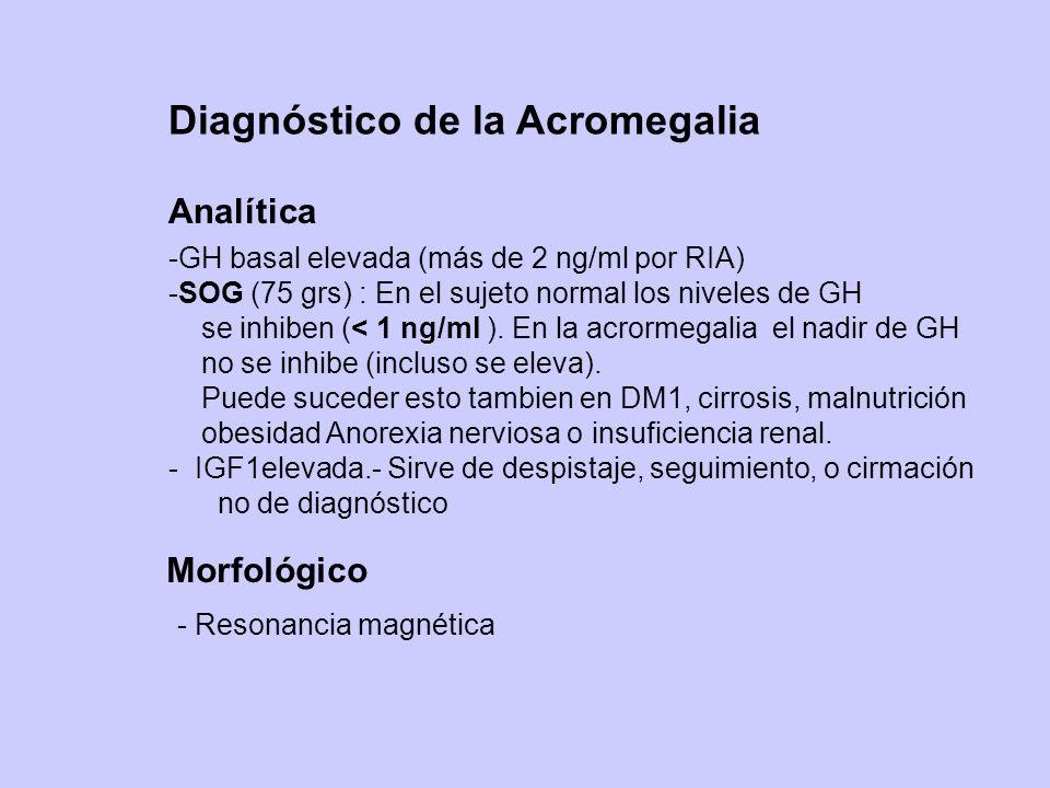 Diagnóstico de la Acromegalia -GH basal elevada (más de 2 ng/ml por RIA) -SOG (75 grs) : En el sujeto normal los niveles de GH se inhiben (< 1 ng/ml )
