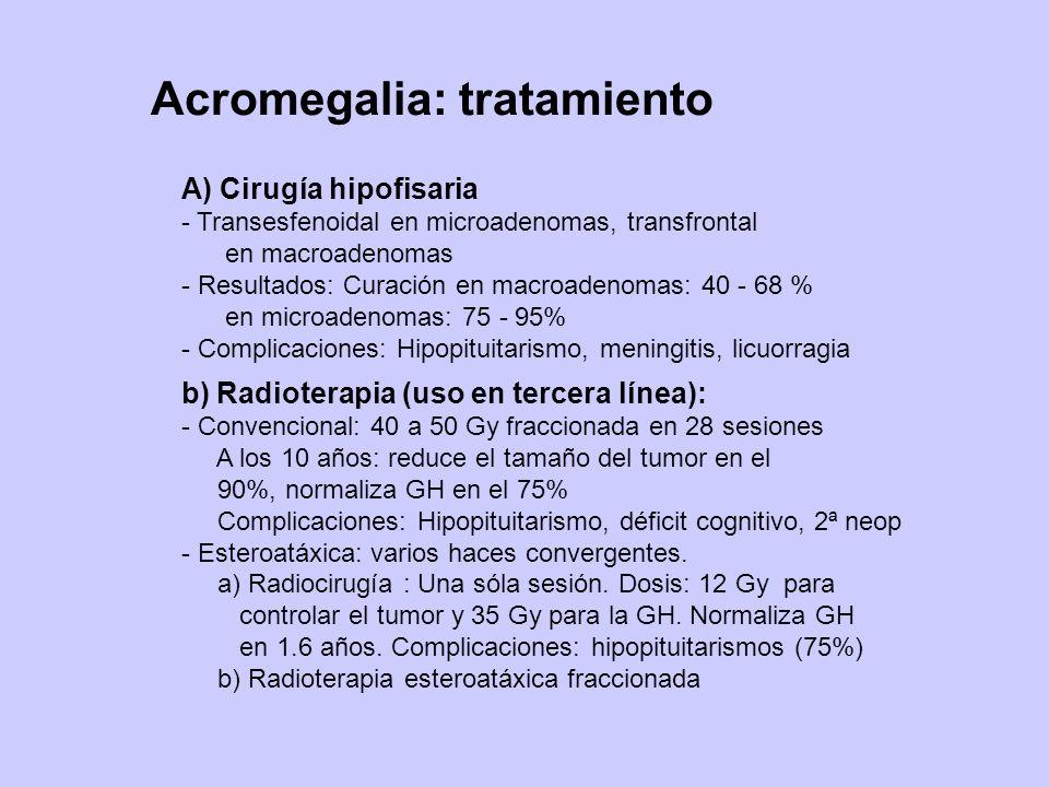 Acromegalia: tratamiento A) Cirugía hipofisaria - Transesfenoidal en microadenomas, transfrontal en macroadenomas - Resultados: Curación en macroadeno