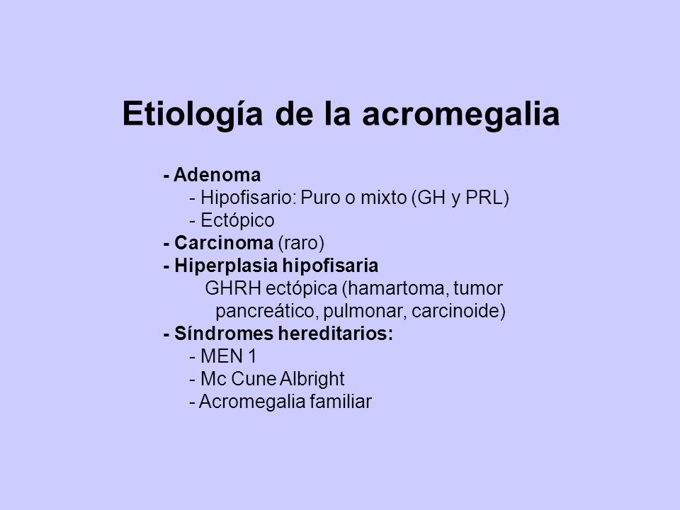 Etiología de la acromegalia - Adenoma - Hipofisario: Puro o mixto (GH y PRL) - Ectópico - Carcinoma (raro) - Hiperplasia hipofisaria GHRH ectópica (ha