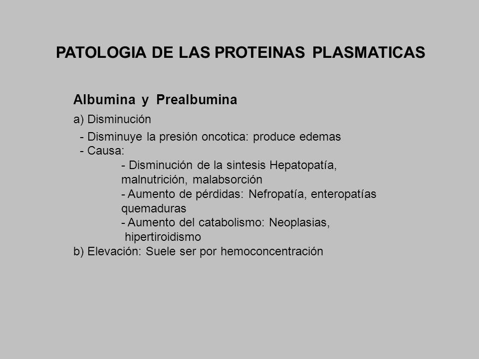 PATOLOGIA DE LAS PROTEINAS PLASMATICAS Albumina y Prealbumina a) Disminución - Disminuye la presión oncotica: produce edemas - Causa: - Disminución de