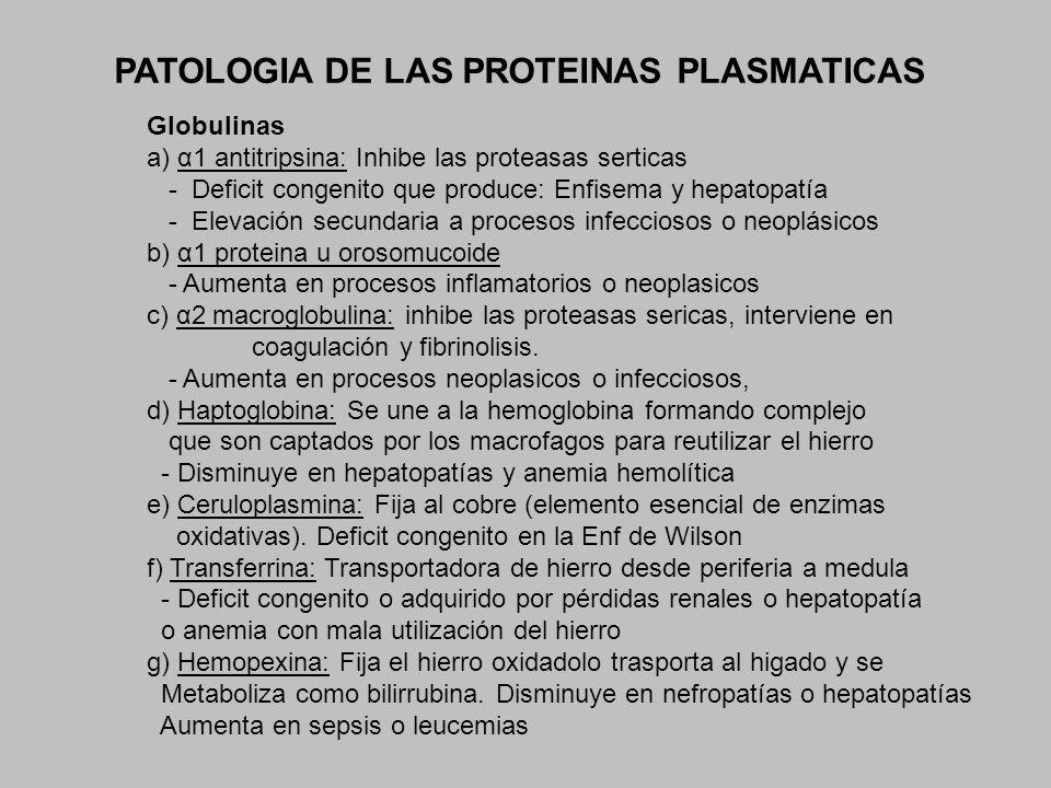 PATOLOGIA DE LAS PROTEINAS PLASMATICAS Globulinas a) α1 antitripsina: Inhibe las proteasas serticas - Deficit congenito que produce: Enfisema y hepato