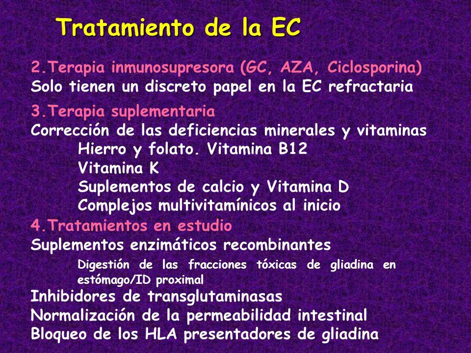 Tratamiento de la EC 2.Terapia inmunosupresora (GC, AZA, Ciclosporina) Solo tienen un discreto papel en la EC refractaria 3.Terapia suplementaria Corr