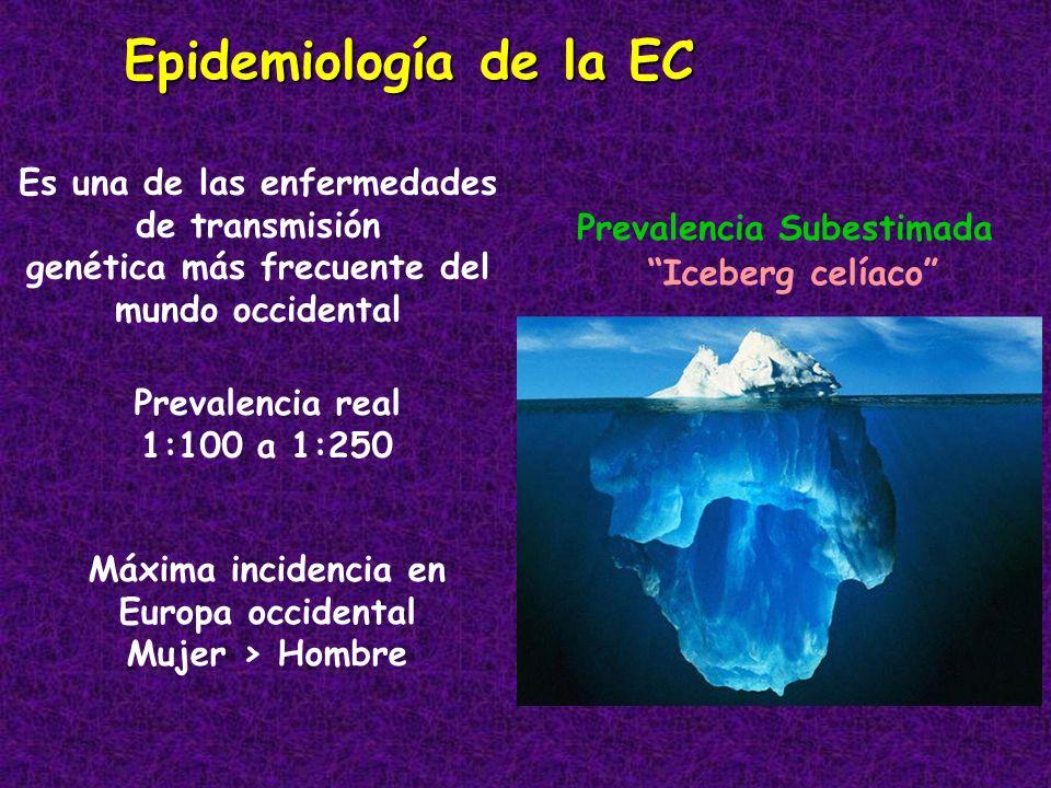 Epidemiología de la EC Es una de las enfermedades de transmisión genética más frecuente del mundo occidental Prevalencia real 1:100 a 1:250 Máxima inc