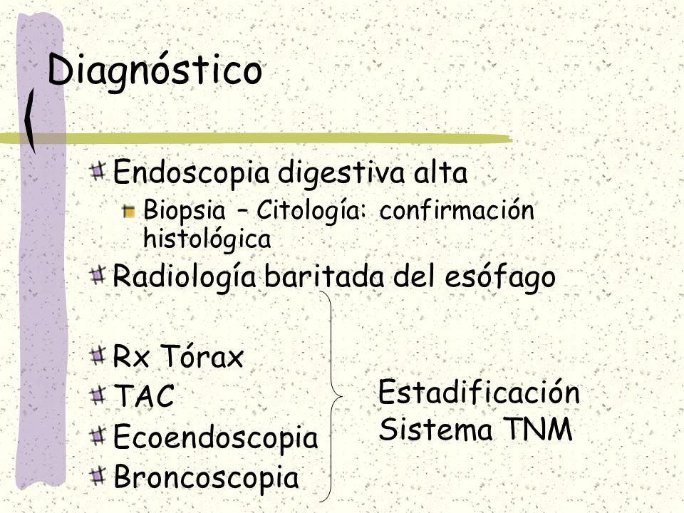 Diagnóstico Endoscopia digestiva alta Biopsia – Citología: confirmación histológica Radiología baritada del esófago Rx Tórax TAC Ecoendoscopia Broncos