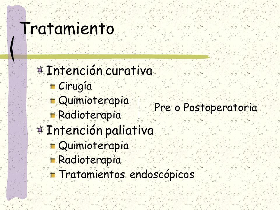Tratamiento Intención curativa Cirugía Quimioterapia Radioterapia Intención paliativa Quimioterapia Radioterapia Tratamientos endoscópicos Pre o Posto