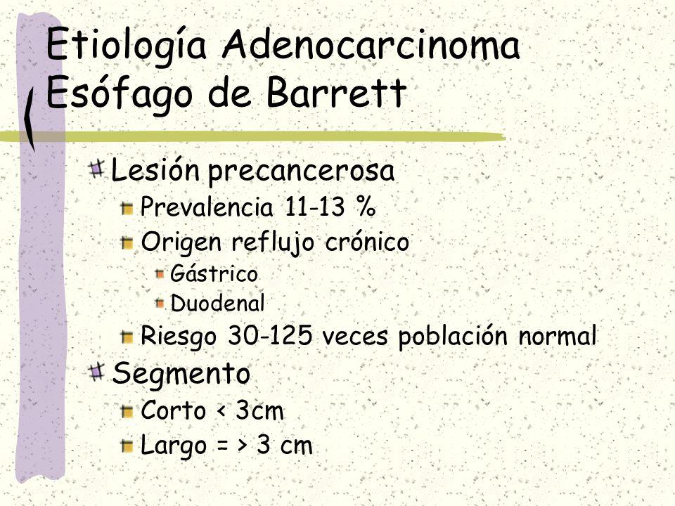 Etiología Adenocarcinoma Esófago de Barrett Lesión precancerosa Prevalencia 11-13 % Origen reflujo crónico Gástrico Duodenal Riesgo 30-125 veces pobla