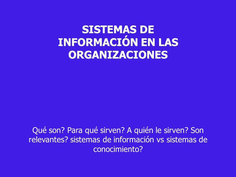 SISTEMAS DE INFORMACIÓN EN LAS ORGANIZACIONES Qué son? Para qué sirven? A quién le sirven? Son relevantes? sistemas de información vs sistemas de cono