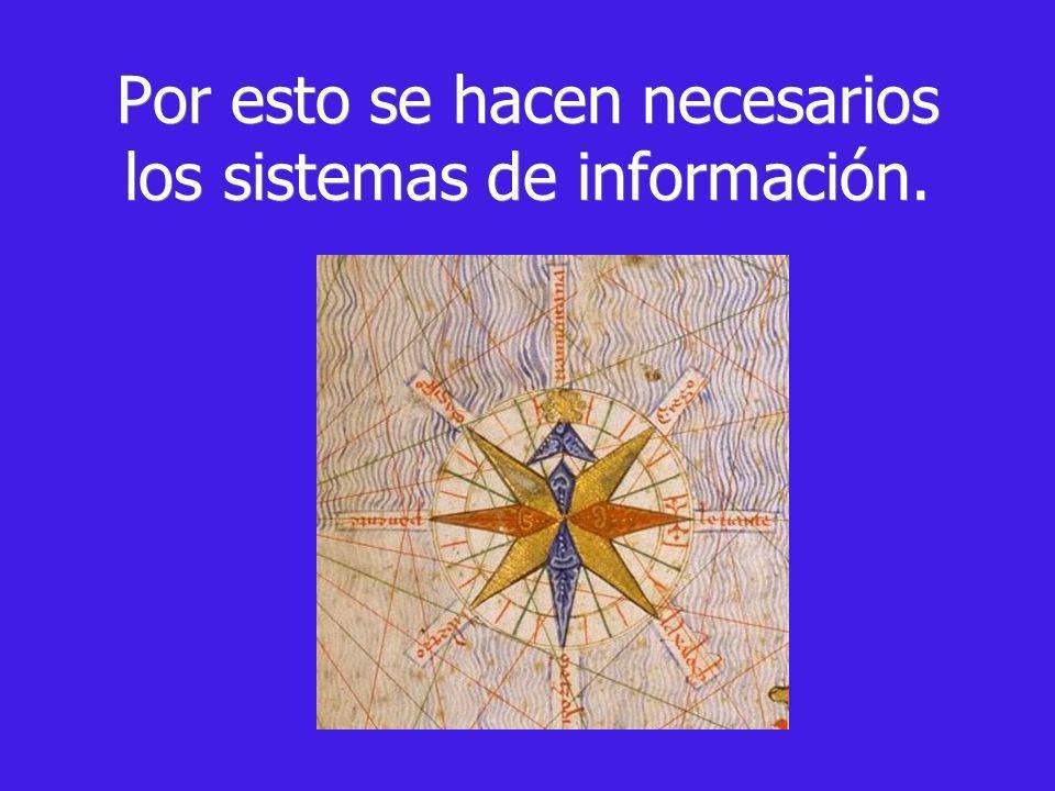 Por esto se hacen necesarios los sistemas de información.