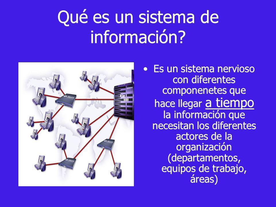 Qué es un sistema de información? Es un sistema nervioso con diferentes componenetes que hace llegar a tiempo la información que necesitan los diferen