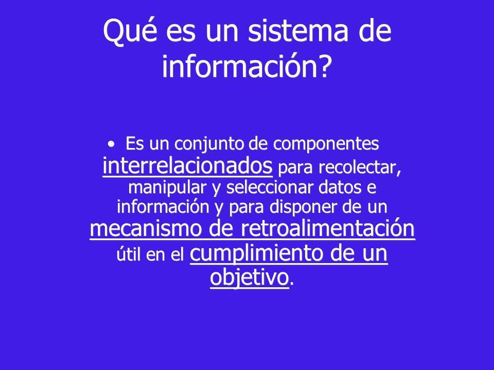 Qué es un sistema de información? Es un conjunto de componentes interrelacionados para recolectar, manipular y seleccionar datos e información y para