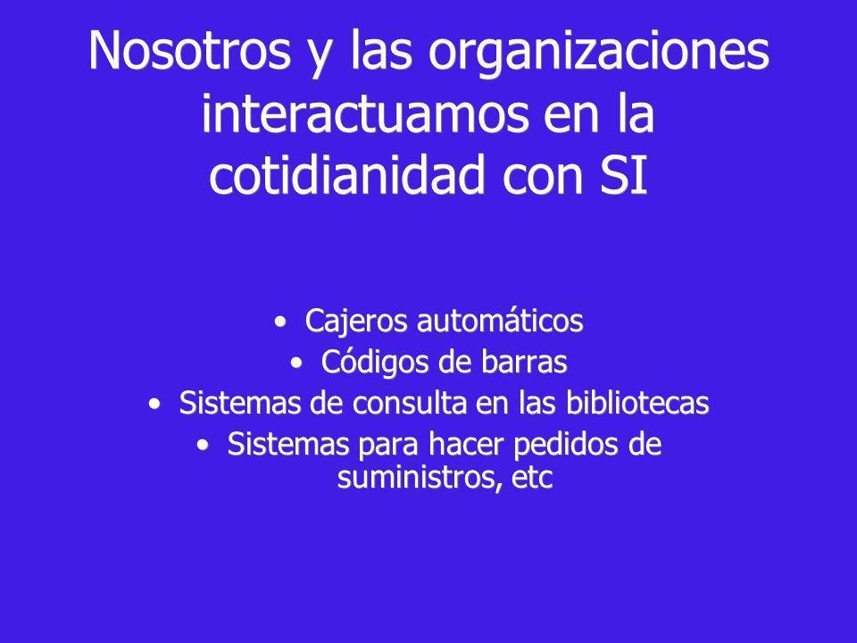 Nosotros y las organizaciones interactuamos en la cotidianidad con SI Cajeros automáticos Códigos de barras Sistemas de consulta en las bibliotecas Sistemas para hacer pedidos de suministros, etc Cajeros automáticos Códigos de barras Sistemas de consulta en las bibliotecas Sistemas para hacer pedidos de suministros, etc