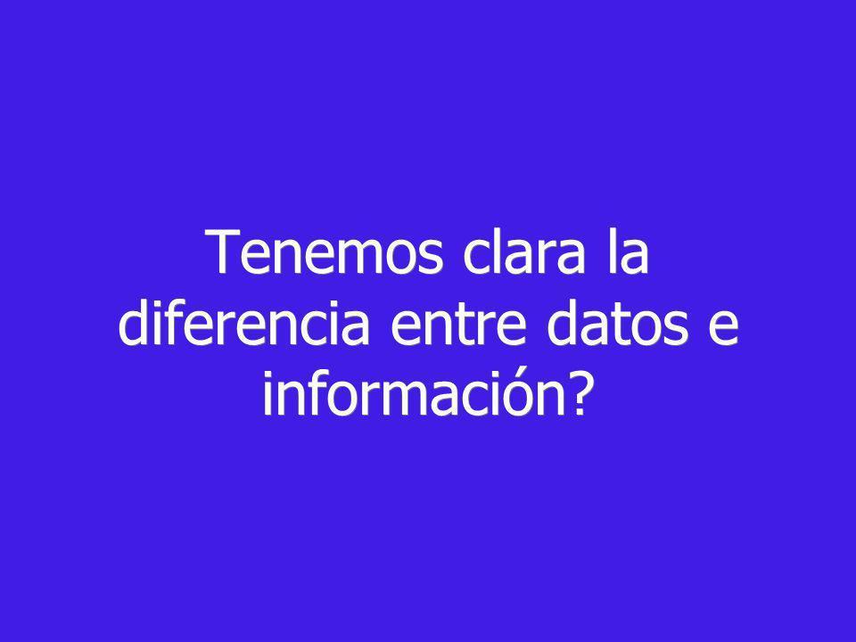 Tenemos clara la diferencia entre datos e información?
