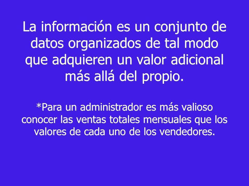 La información es un conjunto de datos organizados de tal modo que adquieren un valor adicional más allá del propio. *Para un administrador es más val