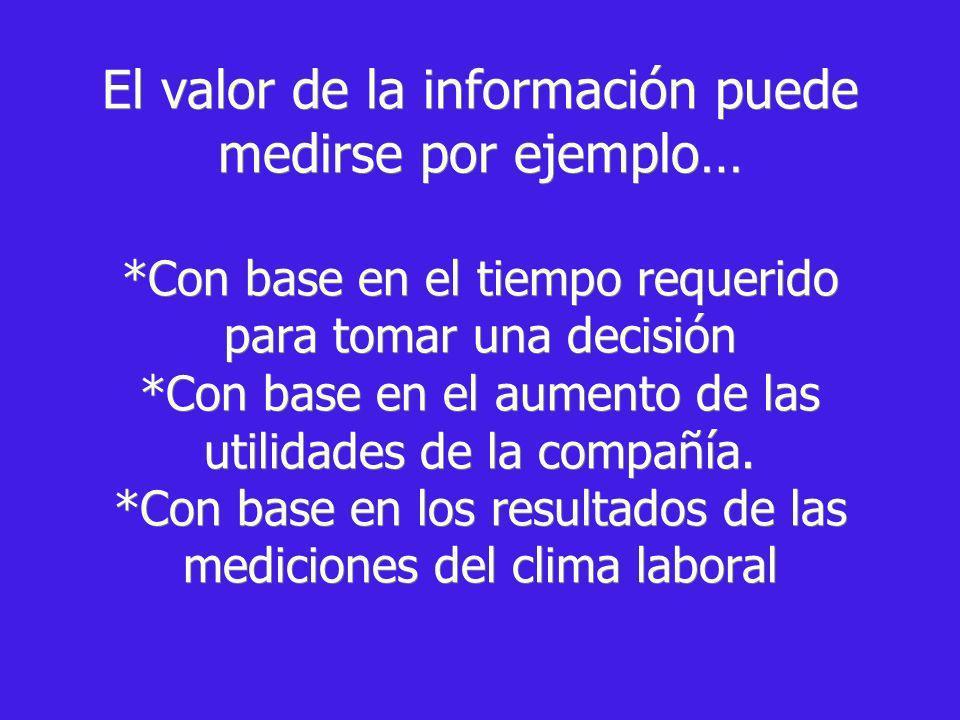 El valor de la información puede medirse por ejemplo… *Con base en el tiempo requerido para tomar una decisión *Con base en el aumento de las utilidad