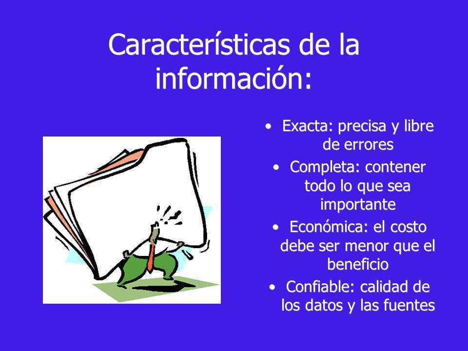 Características de la información: Exacta: precisa y libre de errores Completa: contener todo lo que sea importante Económica: el costo debe ser menor