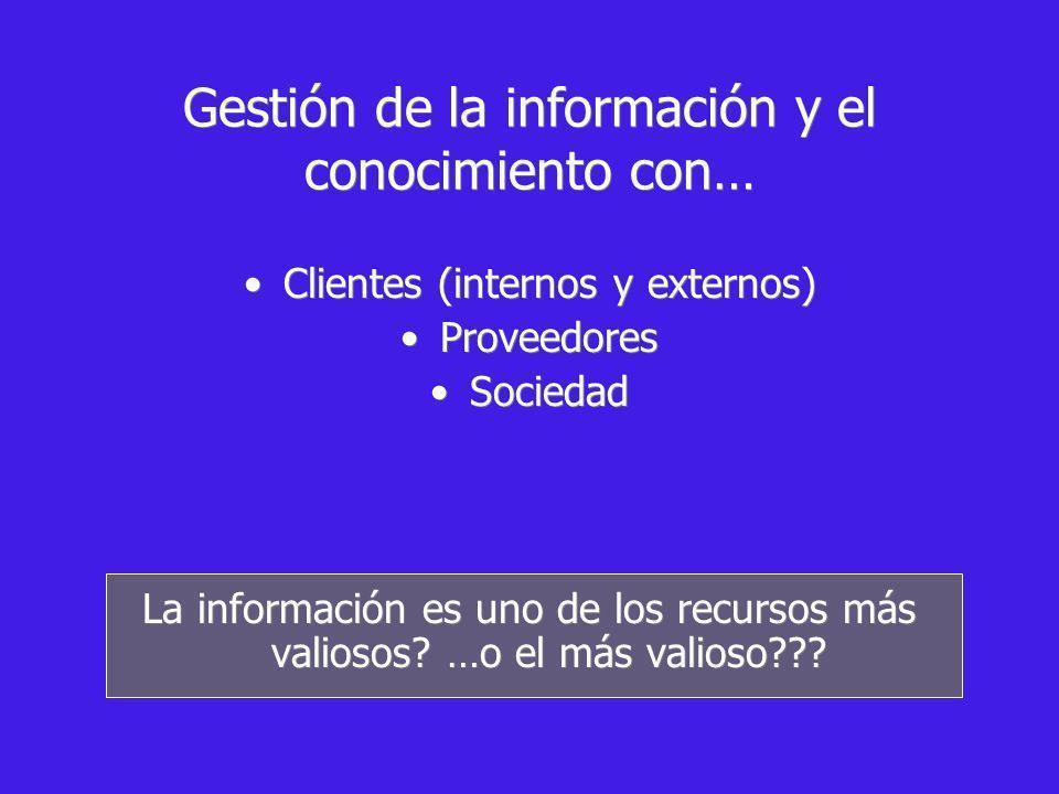Gestión de la información y el conocimiento con… Clientes (internos y externos) Proveedores Sociedad La información es uno de los recursos más valiosos.