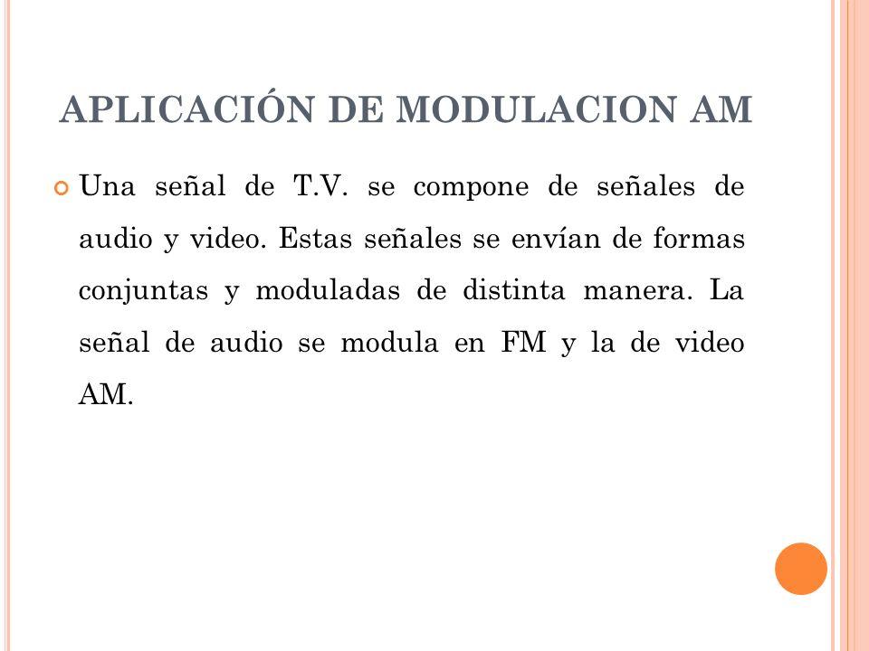 APLICACIÓN DE MODULACION AM Una señal de T.V. se compone de señales de audio y video. Estas señales se envían de formas conjuntas y moduladas de disti