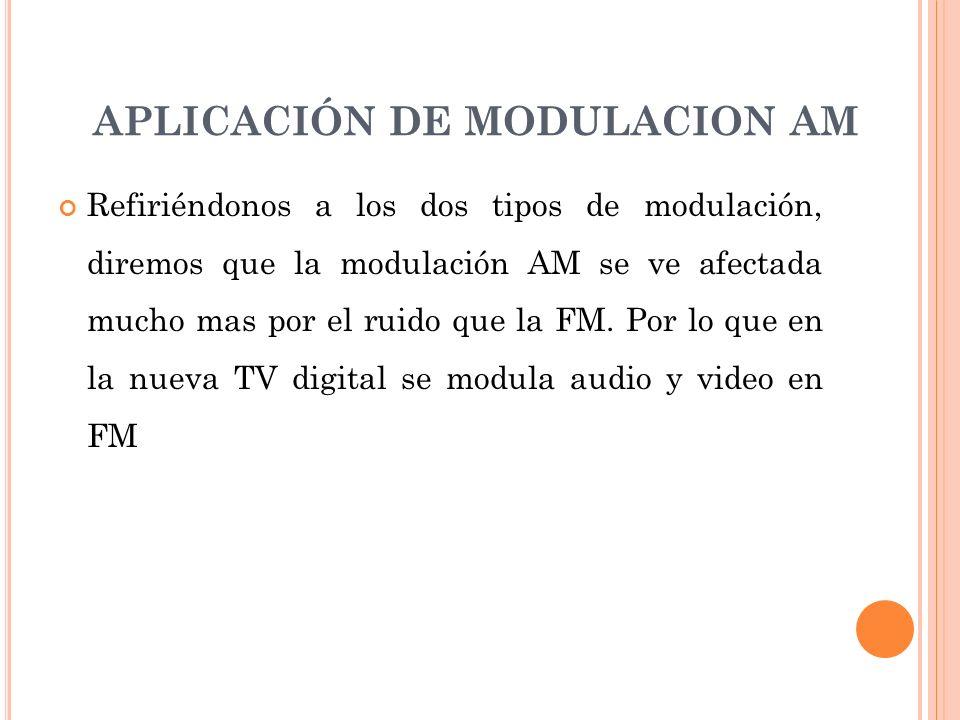 Refiriéndonos a los dos tipos de modulación, diremos que la modulación AM se ve afectada mucho mas por el ruido que la FM. Por lo que en la nueva TV d