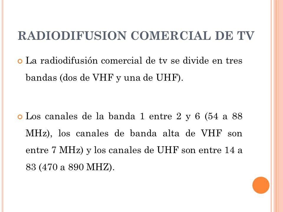 RADIODIFUSION COMERCIAL DE TV La radiodifusión comercial de tv se divide en tres bandas (dos de VHF y una de UHF). Los canales de la banda 1 entre 2 y
