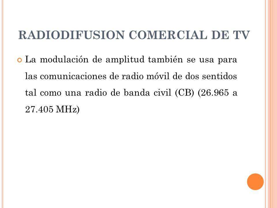 RADIODIFUSION COMERCIAL DE TV La modulación de amplitud también se usa para las comunicaciones de radio móvil de dos sentidos tal como una radio de ba