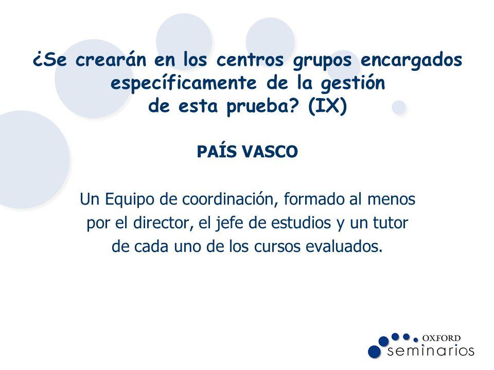 ¿Se crearán en los centros grupos encargados específicamente de la gestión de esta prueba? (IX) PAÍS VASCO Un Equipo de coordinación, formado al menos