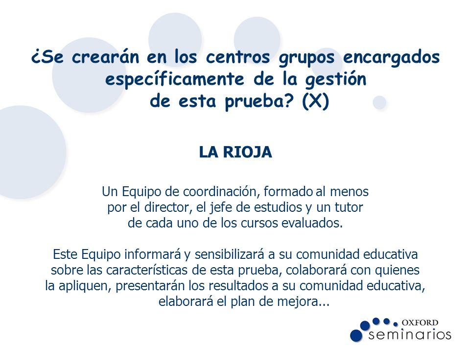 ¿Se crearán en los centros grupos encargados específicamente de la gestión de esta prueba? (X) LA RIOJA Un Equipo de coordinación, formado al menos po