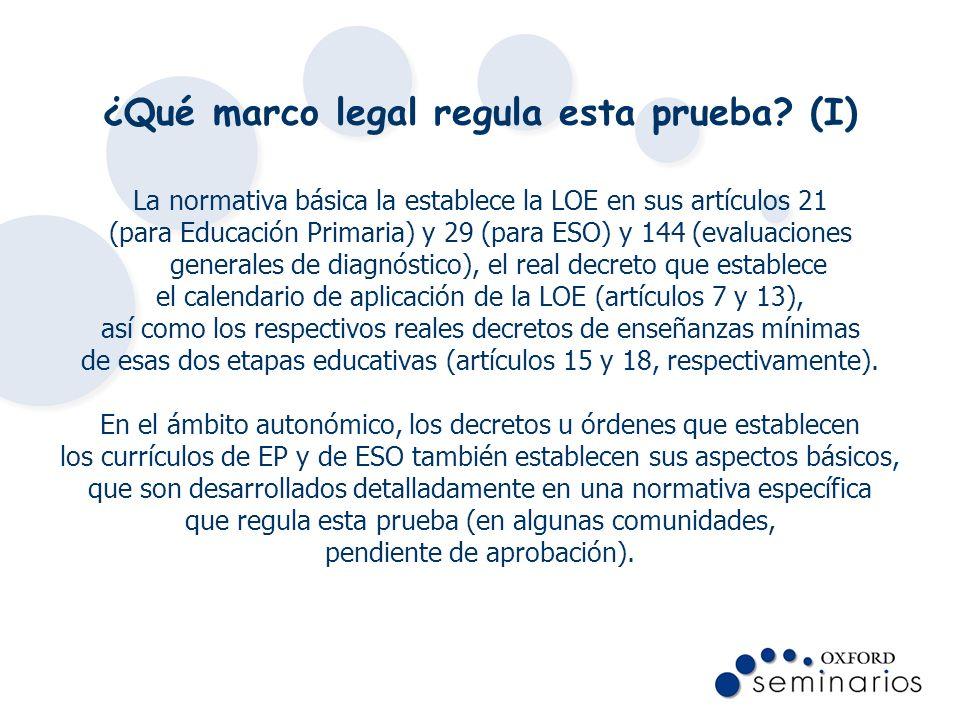 ¿Qué marco legal regula esta prueba? (I) La normativa básica la establece la LOE en sus artículos 21 (para Educación Primaria) y 29 (para ESO) y 144 (