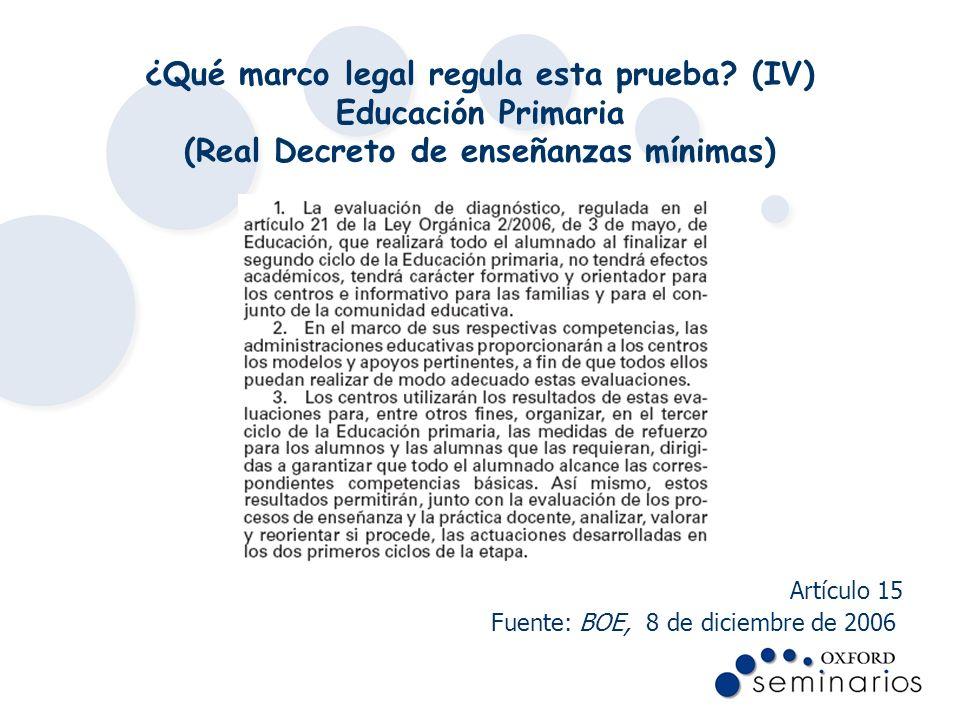 ¿Qué marco legal regula esta prueba? (IV) Educación Primaria (Real Decreto de enseñanzas mínimas) Artículo 15 Fuente: BOE, 8 de diciembre de 2006.