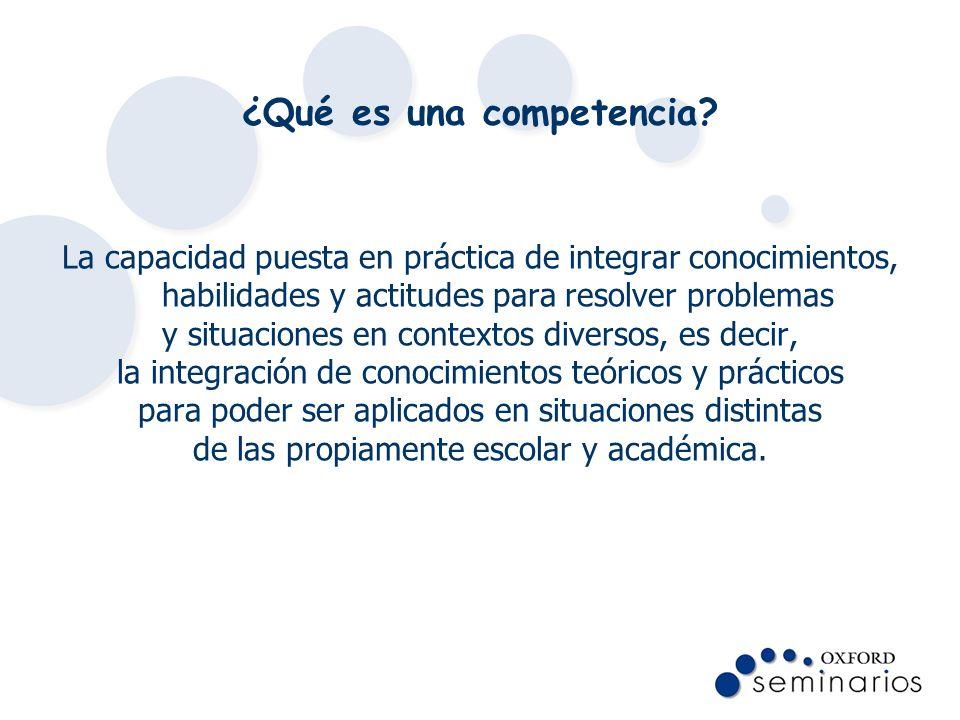 ¿Qué es una competencia? La capacidad puesta en práctica de integrar conocimientos, habilidades y actitudes para resolver problemas y situaciones en c