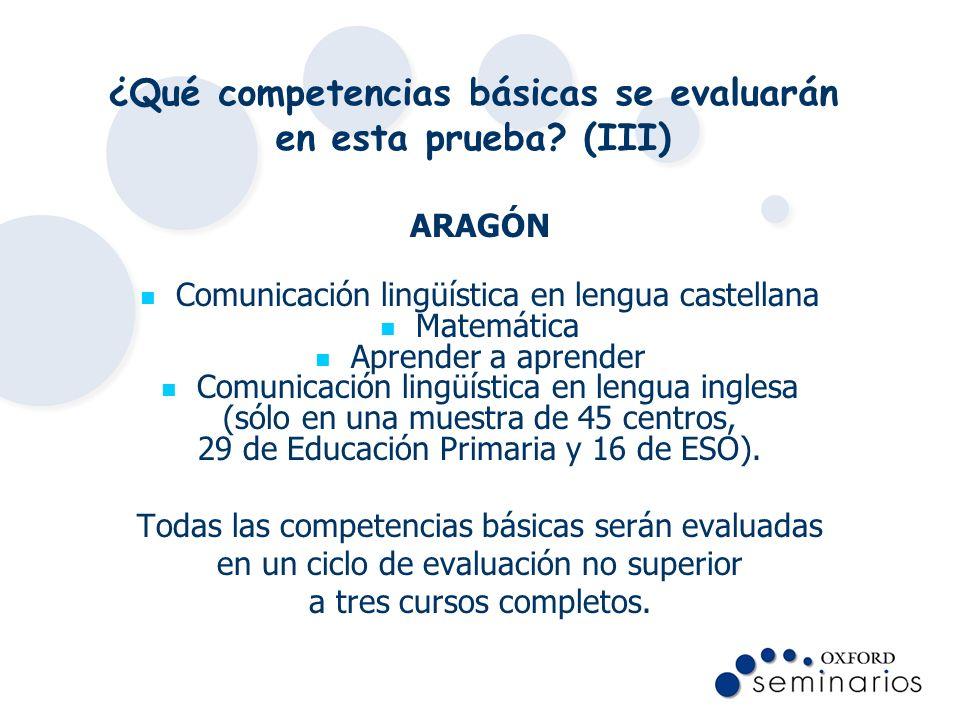 ¿Qué competencias básicas se evaluarán en esta prueba? (III) ARAGÓN Comunicación lingüística en lengua castellana Matemática Aprender a aprender Comun