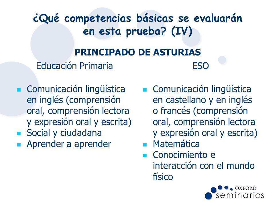 ¿Qué competencias básicas se evaluarán en esta prueba? (IV) PRINCIPADO DE ASTURIAS Educación Primaria Comunicación lingüística en inglés (comprensión