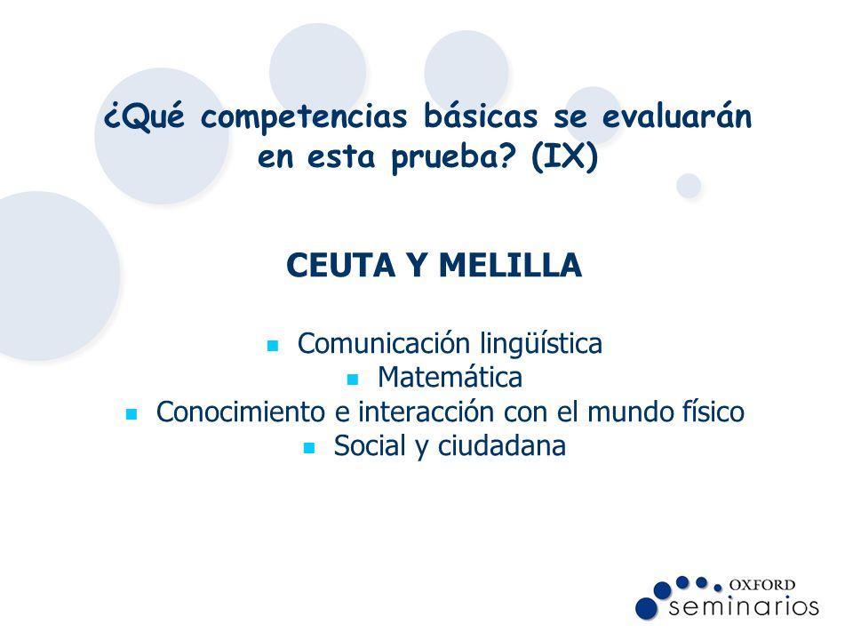 ¿Qué competencias básicas se evaluarán en esta prueba? (IX) CEUTA Y MELILLA Comunicación lingüística Matemática Conocimiento e interacción con el mund